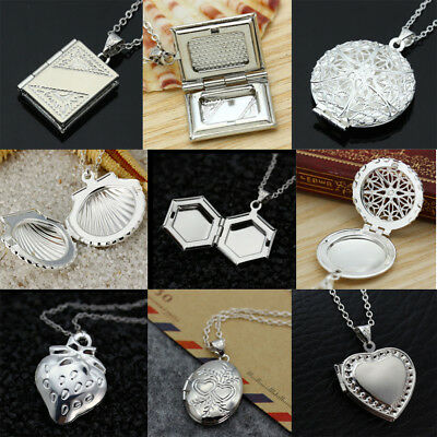 925 Silver Filled Locket Heart Shell Photo Pendant Chain Necklace Jewelry Gift