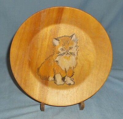 Vintage Decorative Wood Plate Cat Kitten Design with Stand