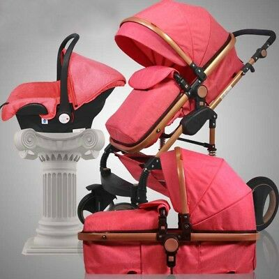 3 in 1 Baby Stroller High View Pram Foldable Pushchair Bassinet &Car Seat Pro