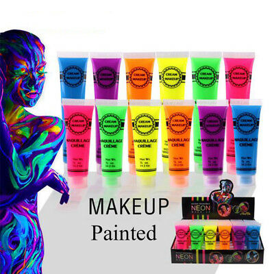 In The Dark Neon Rave Clubbing Festival Paint Glow Face  Body Make Up Party