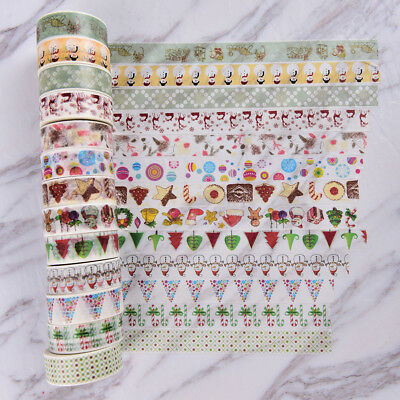 Christmas Washi Tape Paper Masking Sticky Adhesive Roll Craft Decorative FT