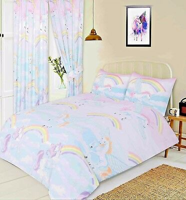 Double Bed Duvet Cover Set Mystical Unicorns Clouds Rainbow Pink Lilac Yellow