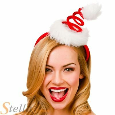 Ladies Red Spiral Spring Santa Christmas Hat On Headband Fancy Dress Costume