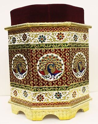 Indian Traditional Design Metal Silver coated wooden Stool Furniture UK002MF