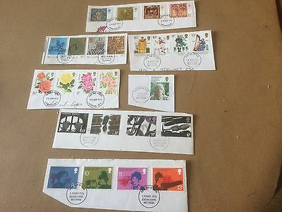 GB 1976 Seven Full Sets Of Very Fine Used Stamps On Piece VFU