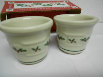 Longaberger Votive Candle Holder Set Holly Made in USA