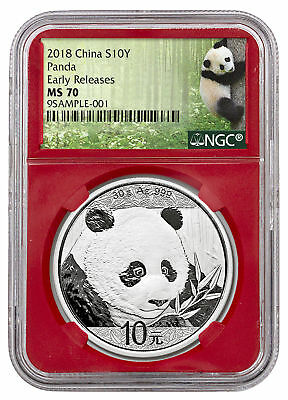 2018 China 30 g Silver Panda ¥10 NGC MS70 ER Red Panda Label SKU50521