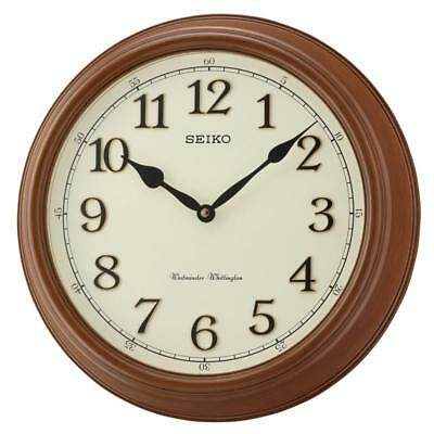 Seiko QXD214B Westminster/Whittington Dual Chime Brown Wood Wall Clock - New