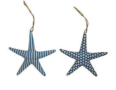 Gisela Graham Pair Fabric Starfish - Hanging From Brown Twine - Lovely Accessory