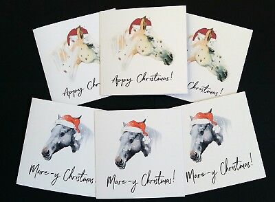 Pack of 6 Funny Horse Christmas Cards - Black Mare and Appaloosa