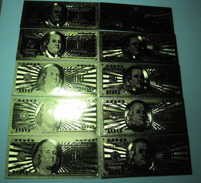 GOLD US $100 Bill's (10)  24 Kt 99999 Gold Foil  Fun HOT Gift FREE SHIP