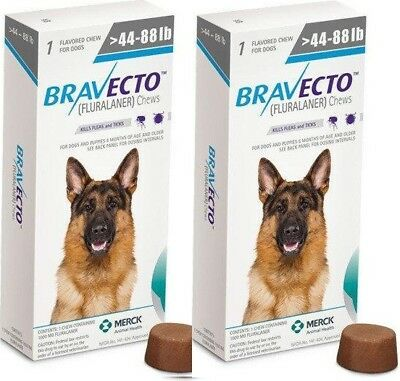 2 pieces Bravecto tablets to protect dogs from ticks and fleas 20-40kg(44-88lb)