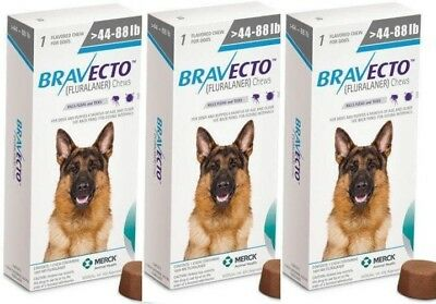 3 pieces Bravecto tablets to protect dogs from ticks and fleas 20-40 kg(44-88lb)