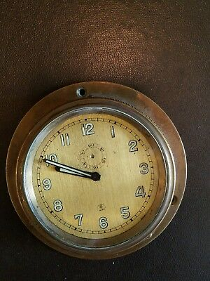 Antique Swiss 8 Day boat/ car dash Clock C.T. FRISCH side winding