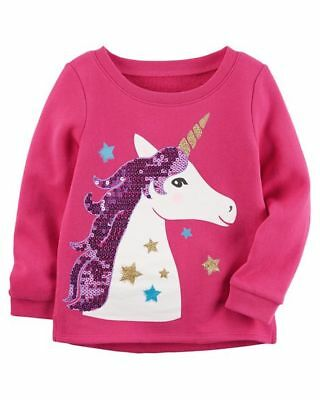 New Carter's Pink Top Sweatshirt Glitter Unicorn Graphi NWT 3T 4T 5T  7 Girls