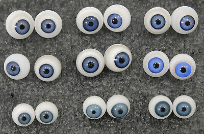 Lot of 10mm - 13mm ANTIQUE DOLL ROUND HAND BLOWN HOLLOW GLASS EYES PARTS REPAIR