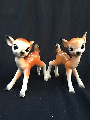 "Two Sweet Vintage Fawn Figurines, Bone China, Blue Eyes, 4"" X 4.5"" MINT"