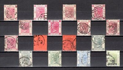 HONG KONG QV GOOD TO FINE USED RANGE x 16 STAMPS NOT CAT OR CHECKED BY ME