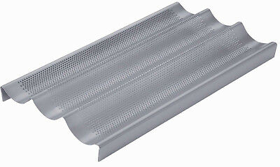 Chicago Metallic 40cm Perforated 3 Section Non Stick Crusty Baguette Baking Tray