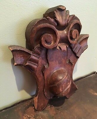 Antique ARCHITECTURAL SALVAGE Hand Carved SOLID WOOD PEDIMENT