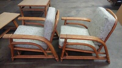 Vintage Ficks Reed Bamboo Rattan Living Room Lounge Chair Table End Tables SET