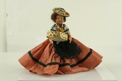 "Vintage Plastic Toy Celluloid Doll 7"" Tall PETTICOLIN Paris France FLOWER SELLER"