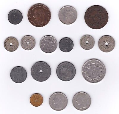 17 Historic European Coins (Bulgaria, Greece, Luxembourg, Belgium) 19th c - WWII
