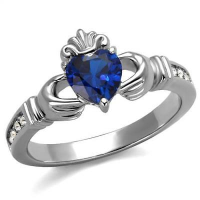 Women's Stainless Steel London Blue Heart Shaped Claddagh Ring 5-10 TK2093