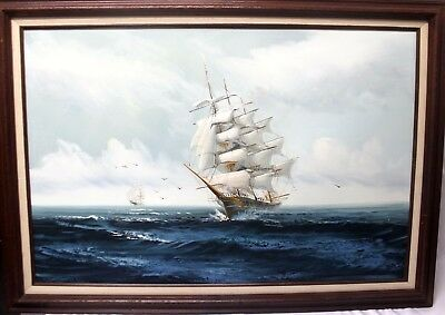 """Old Clipper Boats Water Ocean Signed Framed Oil Painting Jackson ? 24"""" x 36"""""""