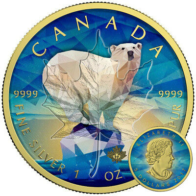 MAPLE LEAF POLAR BEAR - 2017 Canadian 1 oz Pure Silver Coin - COLOR 24K GOLD