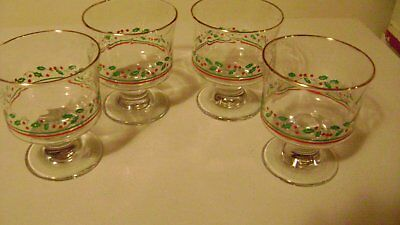 Arbys Holly Berry Sherberts Christmas Glasses (4)   Gold Rim