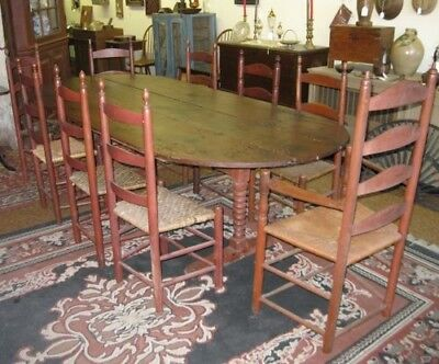 18th Century New York State Trestle Tavern Table And 9 Ladderback Chairs AAFA