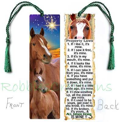 """HORSE Large 6"""" BOOKMARK RULES Property Laws Brown Pony Lover Colt ART Book Card"""