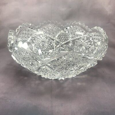 "American Brilliant Period ABP Diamonds & Russian Stars Cut Crystal 7 7/8"" Bowl"