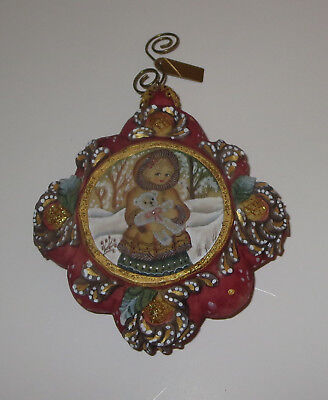 Cuddling in the Snow Ornament G DeBrekht Girl Teddy Bear Snow Glitter Accents