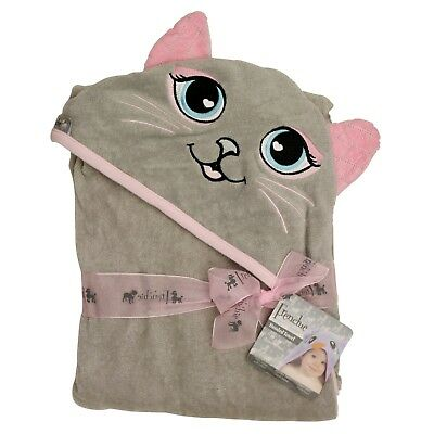 Extra Large Absorbent Grey Cat Hooded Towel for Babies, Infants, Toddlers, Kids