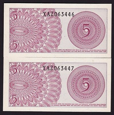 Indonesia Banknote 5 Sen 1964 Replacement Note P-91r Consecutive Pair UNC