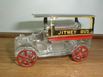 1916 Westmoreland Glass Candy Container - JITNEY BUS Black roof w/ Red floorpan