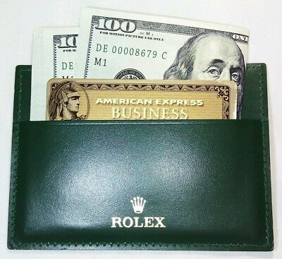 ROLEX Green leather Wallet BUSINESS Card Holder for Men or Women Very nice!!! #A