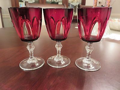 "3 VTG Durand Cristal d'Arques Ruby Cut to Clear Gothic 5"" Wine Glasses France"