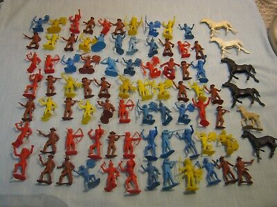 Vintage Lot Of 82 Small Plastic Toy Indians, Cowboys, And Horses