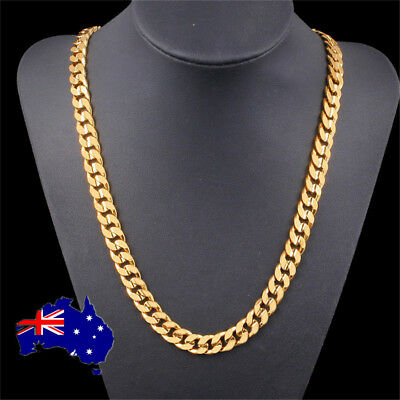 18K GOLD GF Solid Flat Curb Ring hain Italian Men XMAS Gift Necklace 60cm  ON