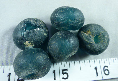 (5) Huron Indian Sky Blue/Green Glass Trade Beads 150+ Years Old Larger Size