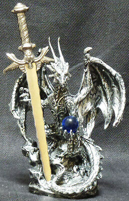 """BEHOLD   Blue Crystal Dragon with Sword  Letter opener Figure Statue H 6.5"""""""