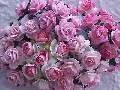 50x15mm Paper Roses MIXED PINKS MPRO15P Birthday Cardmaking Party Craft Supply