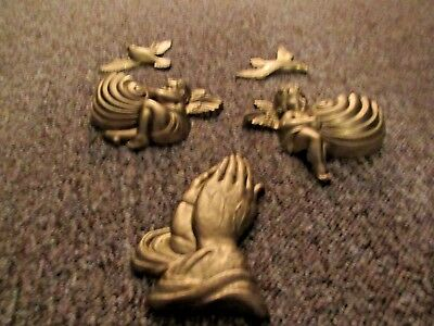 Home Interiors Lot of 5 Picture Accents Wall Pockets HOMCO Angels Doves hand