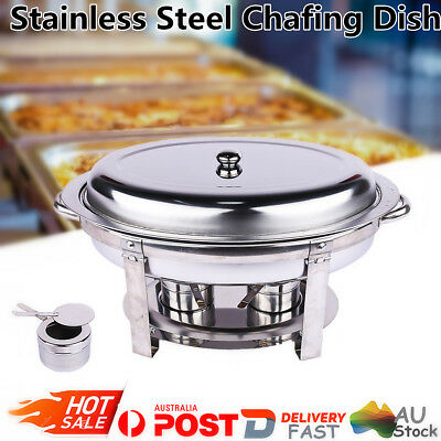 Oval Shape Chafing Dish Stainless Steel Buffet  Cafeteria Food Warmer Heater AU