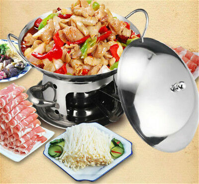25CM Round Stainless Steel Chafing Dish HotPot Soup Liquid Fuel Heated Warmer