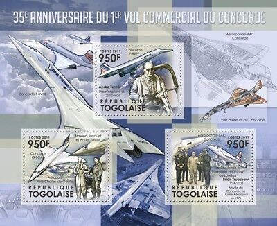 Air France & British Airways CONCORDE PILOTS Aircraft Stamp Sheet (2011 Togo)