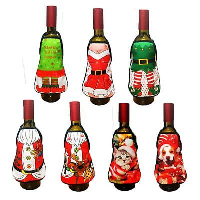 Merry Christmas Apron Lovely Wine Bottle Bag Cover Dinner Party Table Decoration